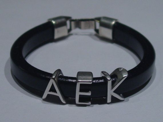 AEK Black Leather Handmade Mens Bracelet Greek by LindosArt