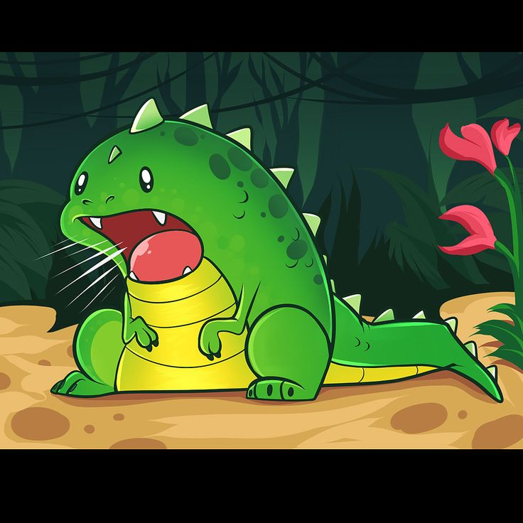 Baby-emerald Dinosaur roaring (rawring)