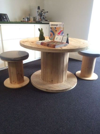 Wooden spool table and 4 x stools with cushions