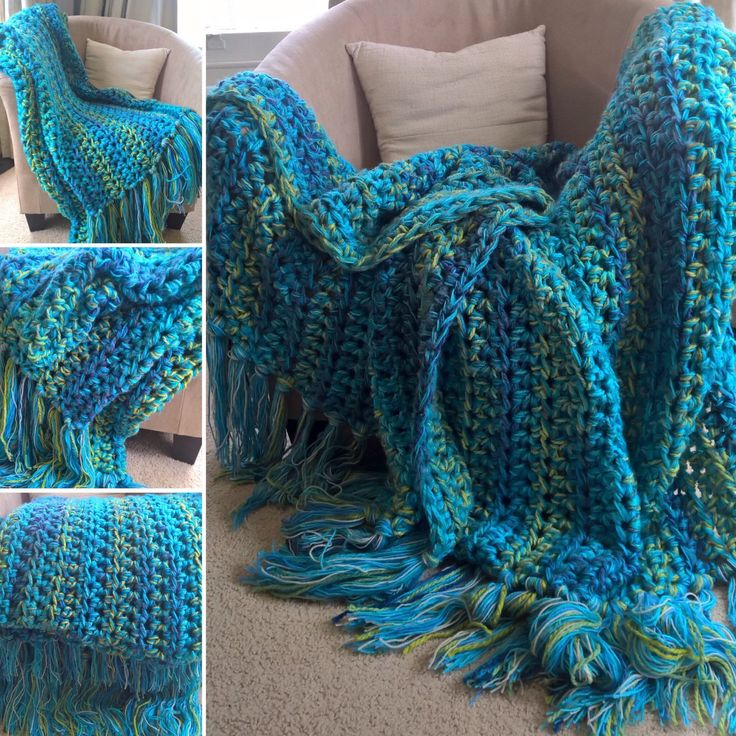 """""""Lagoon"""" LOVE these colours! This 'wrap-ghan' inspired by a beautiful park in Launceston, Tasmania 😊 Grassy mounds & rocky walks rolling into reedy lakes & mossy rock streams~ Bright blue skies~ Relaxing under huge shady trees 💚💙 Tasmania is stunning!"""
