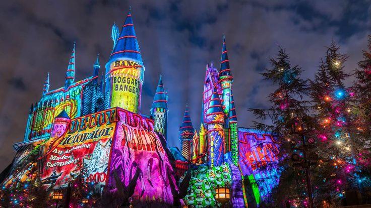 Navidad mágica en el mundo de Harry Potter  A todas luces: gran show en el castillo-escuela de Hogwarts Gentileza Universal
