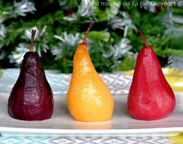 """Poires pochées trois façons – Poires pochées de Noël      """"Рождественские Груши"""". Десерт ароматизаторы, адаптированные к этой холодное время года. Пашот Груши клюквы малины гибискуса, груши пашот в глинтвейна пашот грушей и лимона."""