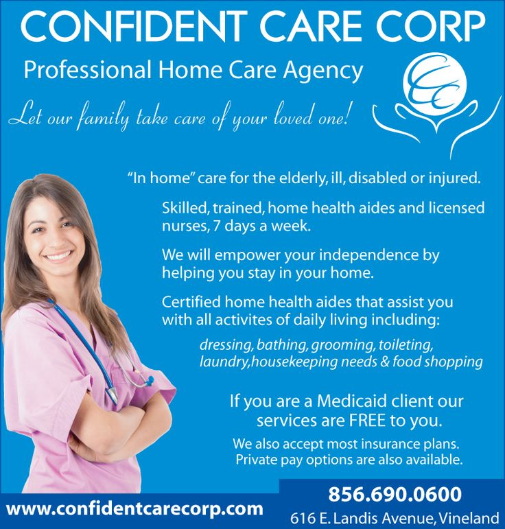 Confident Care Corp: Home Care, Professional, Health Aides, Licensed Nurses, Home Assistance, Elderly, Family, Vineland, NJ, Local Aid