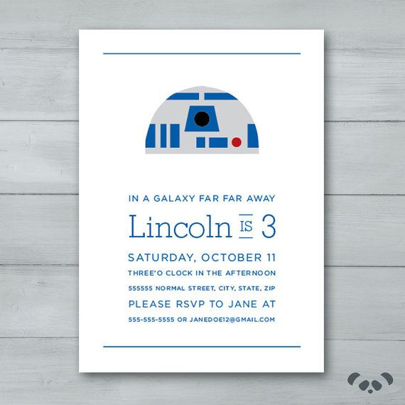 R2D2 Star Wars Birthday Party Invitation    by PandafunkCreations