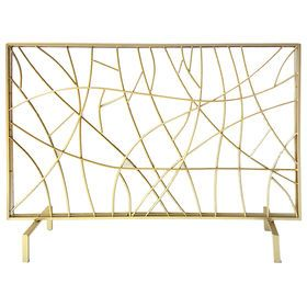 Picture of Gold Metal Fireplace Screen- 41 x 31-in