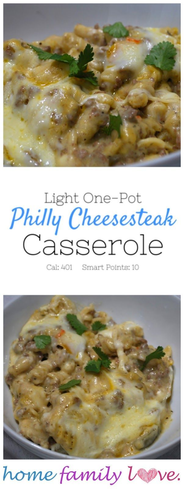 Light Philly Cheesesteak Casserole is only 10 Weight Watcher's Smart Points! It's a perfect quick, easy and healthy weekday meal!