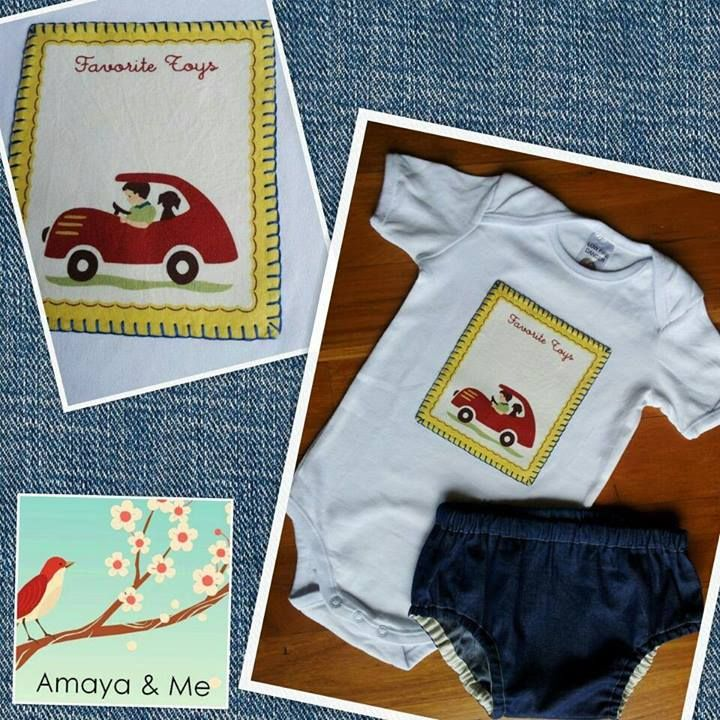 Handmade by Amaya & Me Quality Handmade Baby & Toddler Clothing & Accessories  One for the little man.. This super cute hand appliqued onesie &soft denim nappy cover makes a lovely gift or spoil your own little one One only available as shown in a size 1.