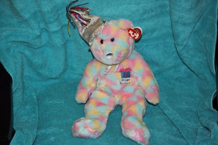 TY BEANIE BUDDIES 2003 HAPPY BIRTHDAY 17inch PLUSH BEAR Tie Dye #TY #BeanieBUDDY