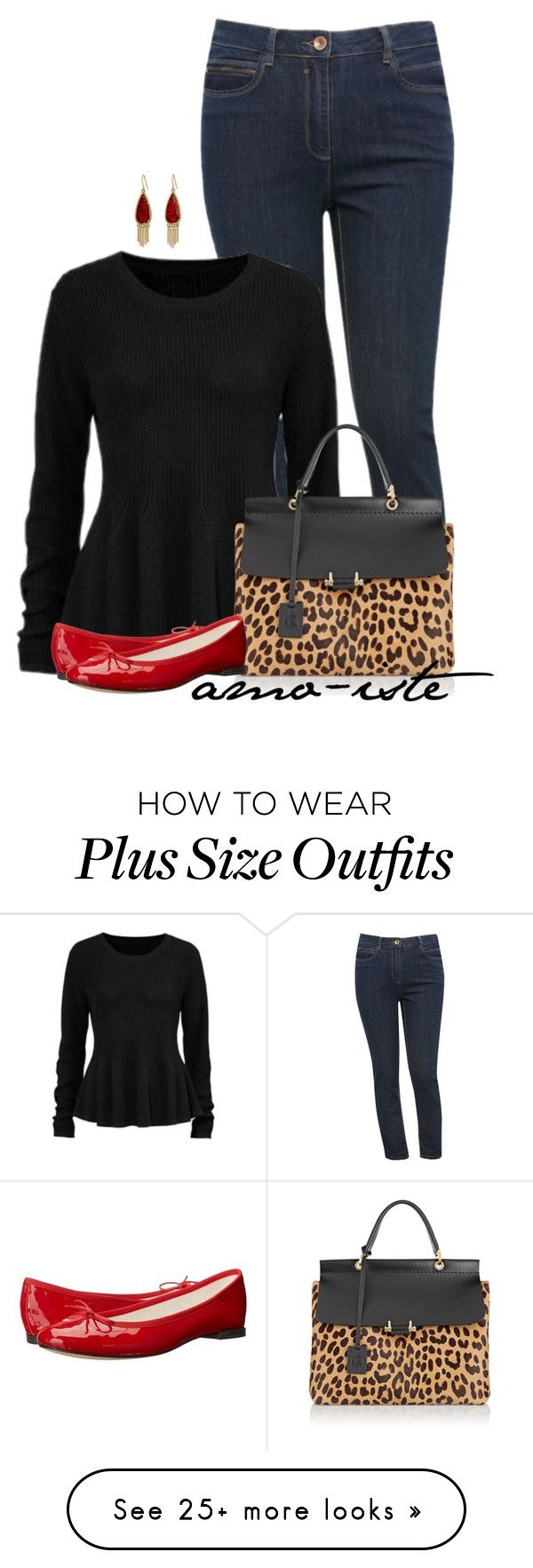 """""""Black Sweater - Plus Size"""" by amo-iste on Polyvore featuring moda, M&Co, Lanvin, The Sak y Repetto"""