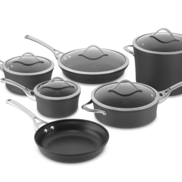 Now dishwasher safe for easy cleanup, Calphalon Contemporary Nonstick is created with multi-layer nonstick for ultra durability. The stunning, contemporary design looks beautiful in the kitchen, and heavy-gauge, hard-anodized aluminum ensures even heating. This well-appointed cookware set includes essential and specialty pans for every culinary need.