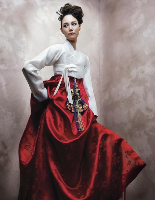 gorgeous white & red hanbok