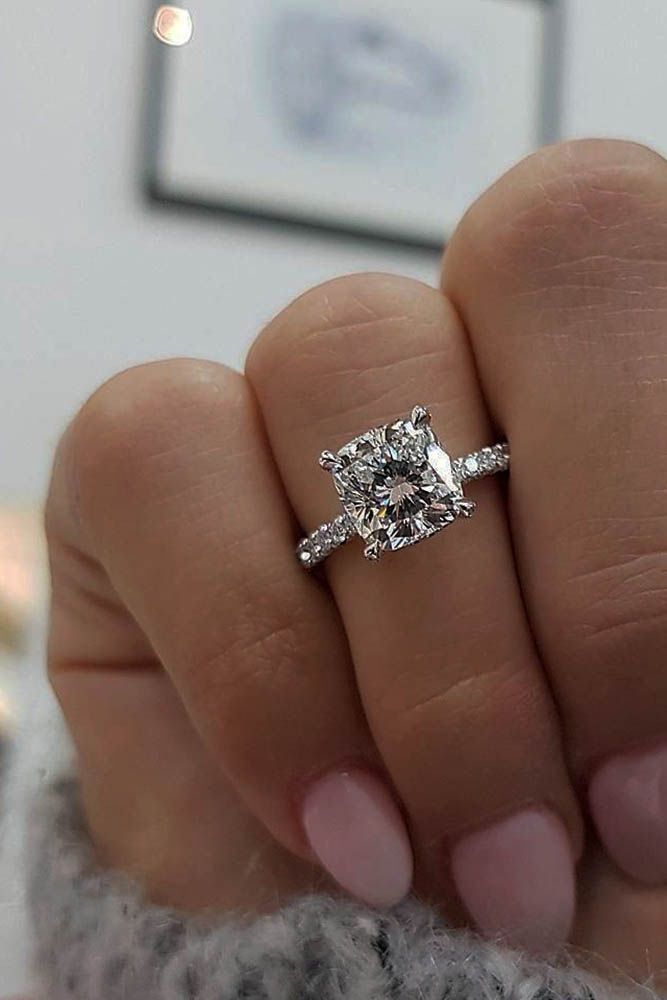 24 TOP Engagement Ring Ideas ❤️ top engagement ring ideas cushion cut diamond pave band white gold ❤️ See more: http://www.weddingforward.com/top-engagement-ring-ideas/ #wedding #bride