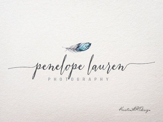 Feather logo Photography logo Handwritten logo by KristinARTdesign
