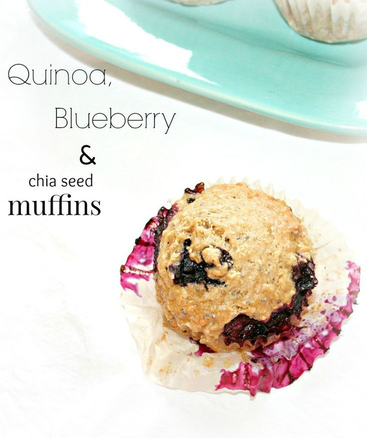 Quinoa, blueberry and chia muffins. Make this healthy vegan recipe with frozen blueberries.