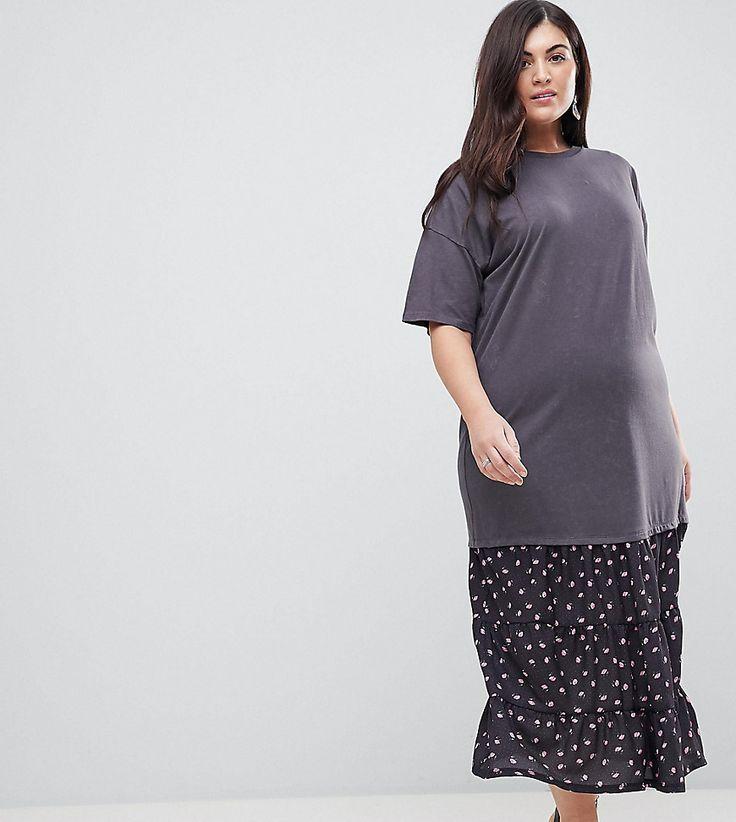 #mode #ootd #outfit #fashion #style #online   #Damen ASOS CURVE – T-Shirt-Maxikleid in Oil-Waschung mit gewebtem Saum – Mehrfarbig   2201474491297