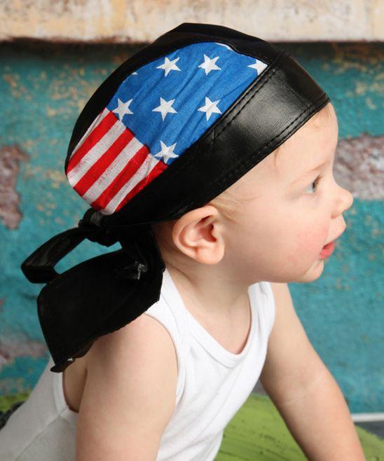 Black American Flag Biker Cap