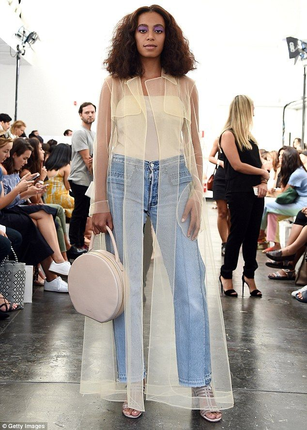 She really did not want to sit down: Solange Knowles tweeted about an ugly situation while at a Kraftwerk concert in New Orleans on Friday; here she is seen Thursday at a NY fashion show