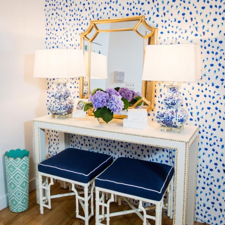 Inspiring Blue Entryway With Double Stools Desing Ideas