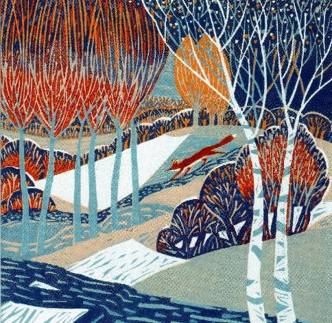 Annie Soudain Paintings, linoprints, fabric collages. Lino print £110. 30cm x 30 cm
