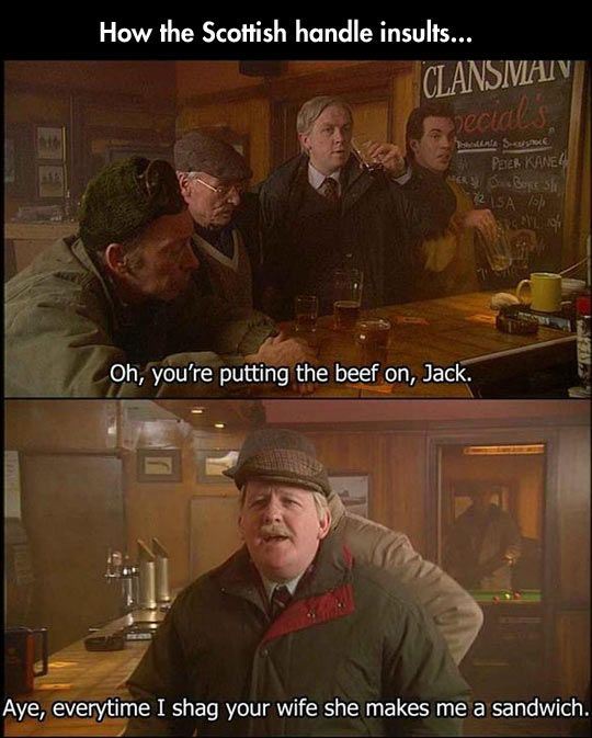 A typical bar conversation in Scotland…