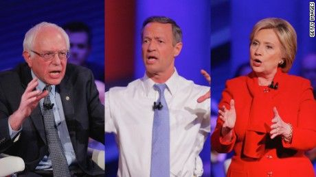 Hillary Clinton, Bernie Sanders and Martin O'Malley took questions at a CNN town hall Monday, their last major primetime appearance before the Iowa caucuses
