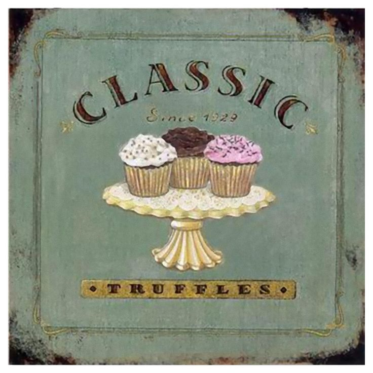 Metallbild CLASSIC Muffins Nostalgie Blechschild Küche Vintage Törtchen  TRUFFELS