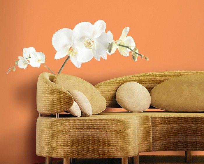 Coole Wandtattoos Wohnzimmer Dekorieren Orchideen Ausgefallenes Sofa