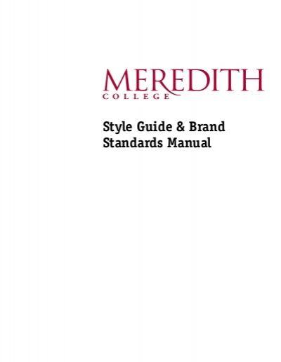 Meredith College brand standards manuals