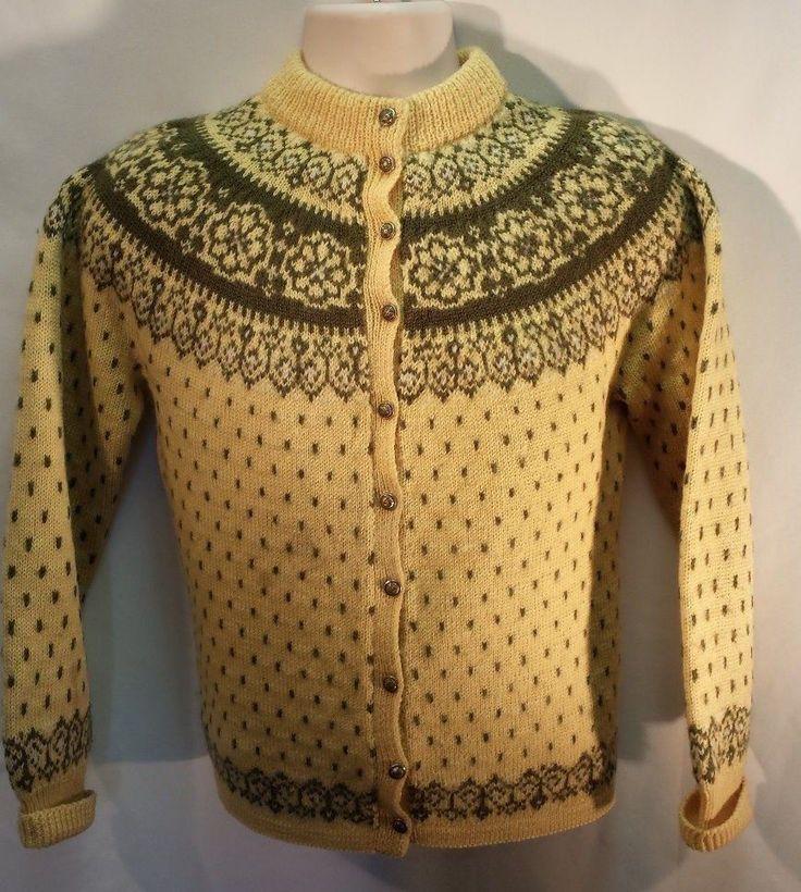 1950s PAUL MAGE ORIGINALS Nordic Ski Sweater Cardigan Multi Wool Denmark  #PAULMAGEORIGINALS #Cardigan