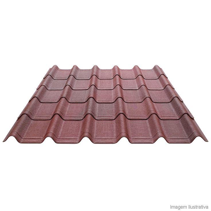 Telha ondulada de asfalto e fibra vegetal 106x40cm 3mm Onduvilla vermelha mesclada Onduline - Telhanorte Mobile
