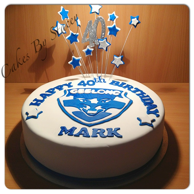 Geelong themed birthday cake, made with red velvet cake and buttercream. Covered in fondant.