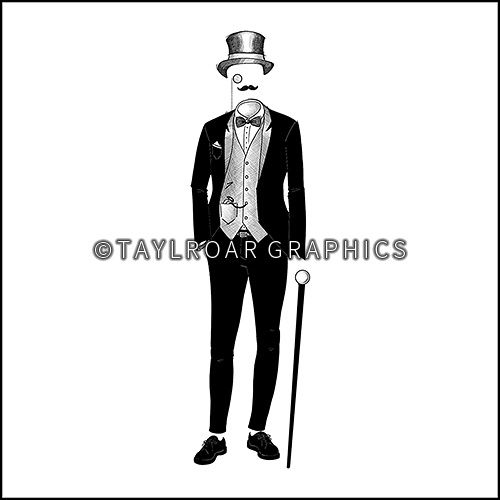 The invisible gentleman custom tattoo design. www.taylroargraphics.com