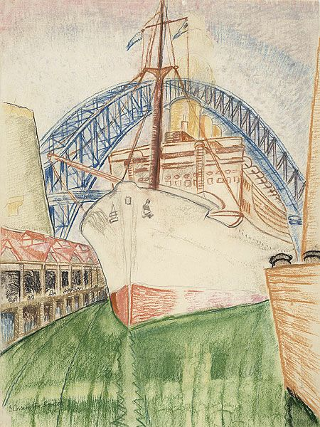 Grace COSSINGTON SMITH | Great white ship at Circular Quay, 1931-32 | pastel, pencil and crayon on paper