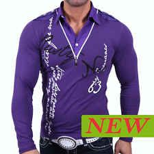 Chemise T Shirt Homme Violet Noir Taille S M L XL XXL 4000 Tee Manche Longue