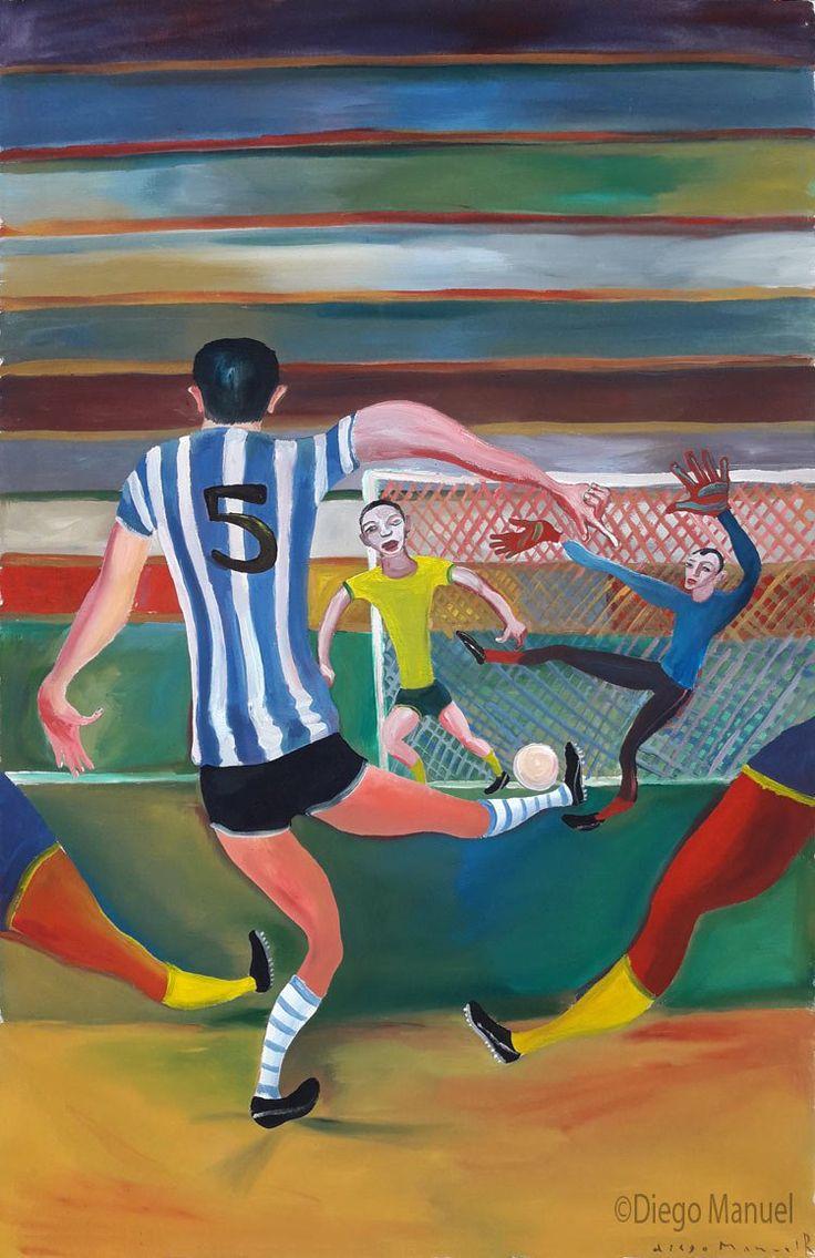 Pintura de un partido de futbol entre Argentina y Brasil, clasico mundial. Pintura de um jogo de futebol entre Argentina e Brasil, pinturas de Diego Manuel