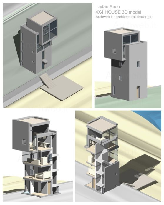 Tadao Ando 4X4 HOUSE 3D Model | Archweb