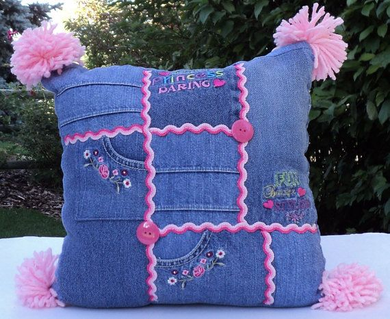 12 x 12 Recycled Jean Pillow Pink Pom Poms Ric Rac by anemporium, $15.00