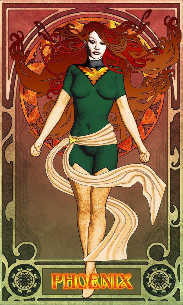 Superheroes in Art Nouveau Style: Phoenix by Trish Ladd