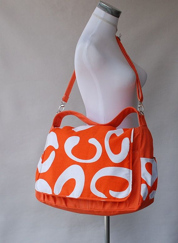 Picoral Orange C (Water Resistant Insulated) Messenger / Shoulder with Zipper Closure
