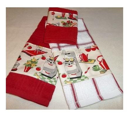 3 Pc Set Retro 50u0027s Kitchen Decor Red White Dish Tea Kitchen Towels | Retro  | Pinterest | 50s Kitchen, Kitchen Towels And Towels