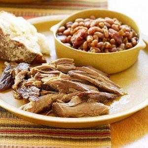 Pulled Pork with Cider-Baked Beans ~ Pork shoulder gets wonderfully ...