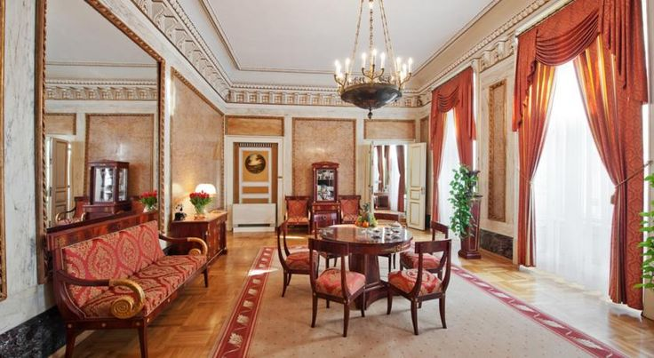 Grand Hotel Kraków This luxurious 5-star hotel located just 100 metres from Kraków's beautiful Main Market Square. It features elegant rooms with period furnishings, full HD LED TVs, air conditioning and free wireless internet.