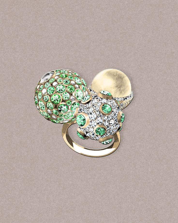 A sketch of the Tiffany Masterpieces jewellery collection Prism ring with two spheres of green tsavorites and diamonds, alongside a south sea golden pearl (POA). See more:http://www.thejewelleryeditor.com/jewellery/tiffany-masterpieces-high-jewellery-at-its-most-wearable/ #jewelry #art