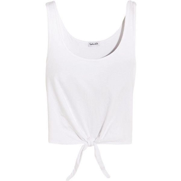 Splendid Tie-front cotton-jersey top ($100) ❤ liked on Polyvore featuring tops, t-shirts, white, white tee, white top, layered tops, splendid tops and white layering tee