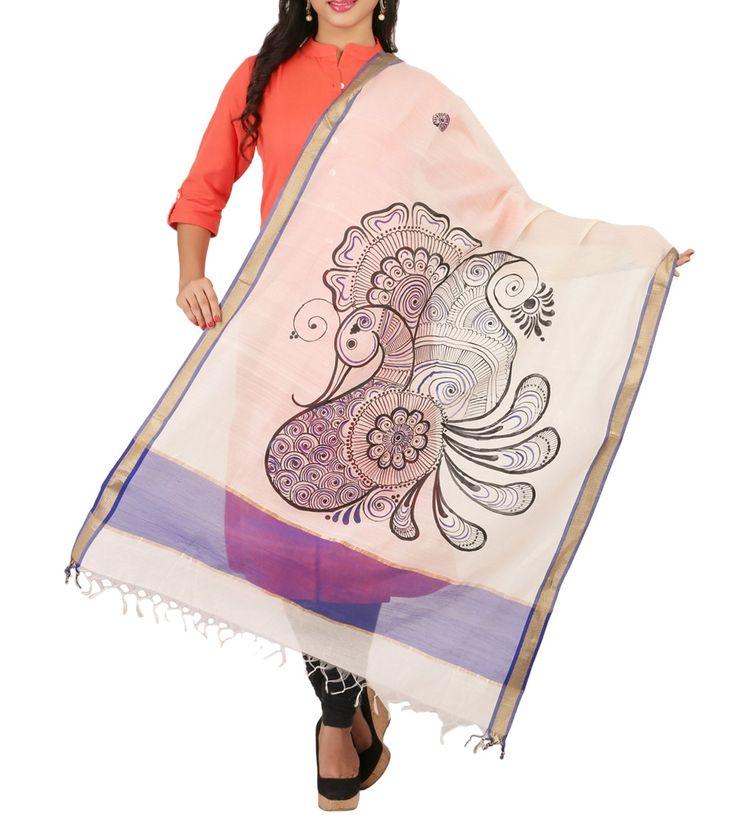Off-white Tussar Silk Hand Painted Dupatta