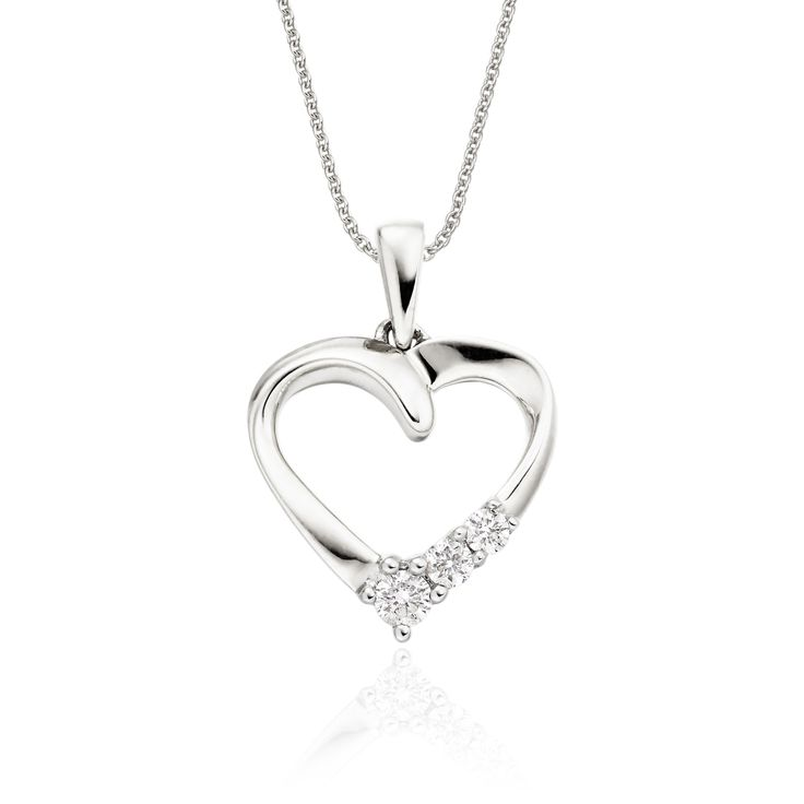 This elegant white gold diamond pendant has 0.15ct diamonds. The mirror polished open heart pendant has 3 diamonds set in simple yet beautiful design. This necklace is made in 9K white gold and is available complete with a beautiful mirror trace chain or if you already have a chain then you have the option to buy just the pendant.