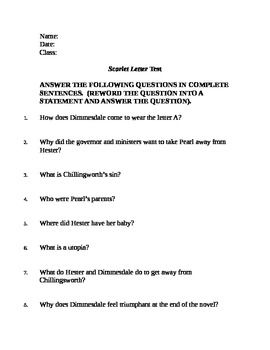 scarlet letter short essay questions The scarlet letter lesson plans and worksheets  the scarlet letter study questions & essay  students respond to 9 short answer and essay questions about willa.