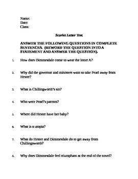 Scarlet Letter Quiz