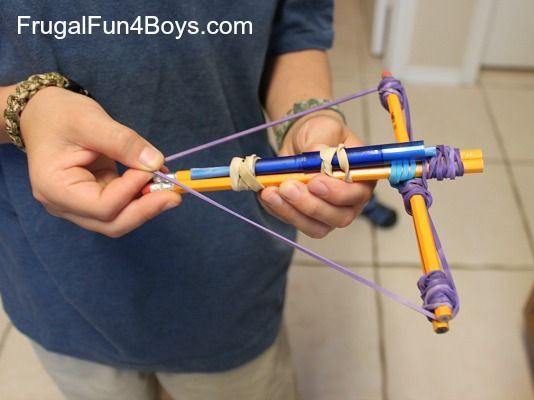 make a working crossbow out of pencils and rubber bands - fun Swan Lake related activity for boys