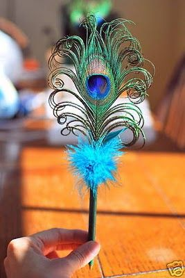 Peacock Wedding Ideas and Supplies: Peacock Feather Pens - Wedding Favors